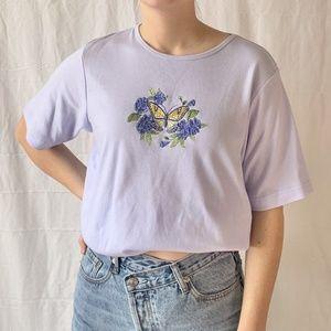 Bon Worth Butterfly T-shirt Lilac Purple Small